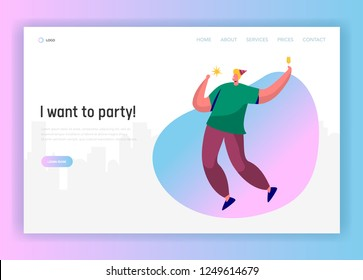 Corporate party landing page template. Happy man character celebrating in hat and having toast for website or web page. Easy edit. Vector illustration