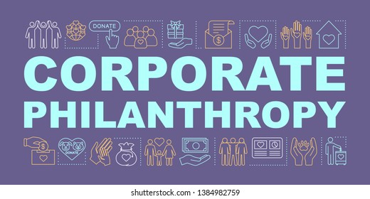 Corporate philanthropy word concepts banner. Charity and volunteering. Social responsibility. Isolated lettering typography. Charitable organization. Social welfare. Vector outline illustration