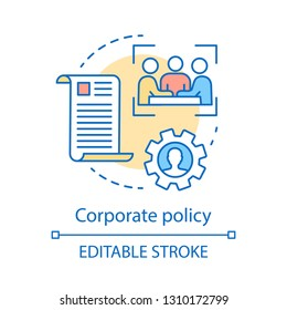 Corporate policy concept icon. Core values idea thin line illustration. Teamwork. Meeting, conference. Board of directors. Corporate governance. Vector isolated outline drawing. Editable stroke