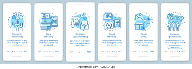 Corporate policy onboarding mobile app page screen vector template. CSR walkthrough website steps with linear illustrations. Corporate welfare and environment. UX, UI, GUI smartphone interface concept