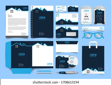 Corporate premium identity branding design. Stationery mockup vector megapack set. Template for business or finance company. Folder and A4 letter, visiting card and envelope.