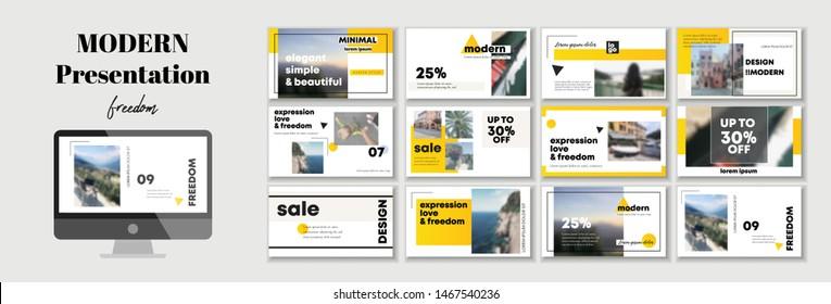 Corporate presentation template. Social media pack. Set of modern blog posts, Editable simple info banner, trendy brochure, cd idea. For app, digital display style. Bright flyer. In orange color. ppt