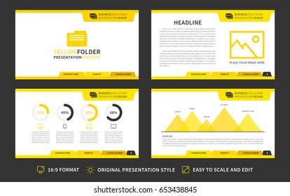 Corporate presentation vector template. Modern business presentation 16:9 format graphic design. Minimalistic layout with front page. Marketing kit visualization template. Easy to use, edit and print.