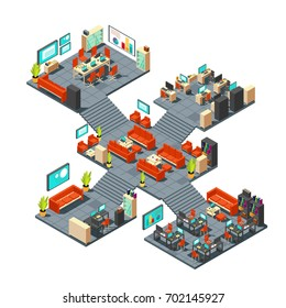 Corporate professional 3d office. Isometric business center floors interior vector illustration. Office business room interior, building department indoor