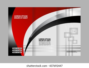 vector red black trifold brochure design stock vector royalty free