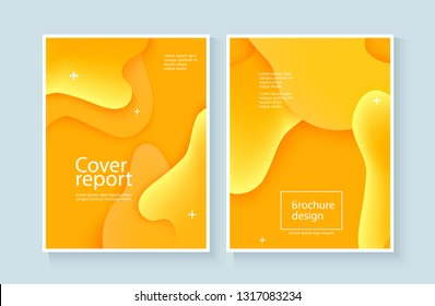 Corporate report cover abstract background with expressive yellow wave and fluid motion flow. Presentation template, poster layout, brochure design. Vector illustration with abstract style.