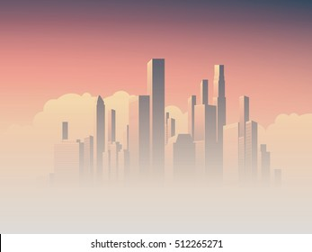 Corporate skyline with high rise skyscrapers in morning sunrise haze with pink and purple sky background. Business cityscape vector symbol of success. Eps10 vector illustration.