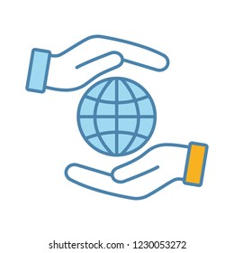 Corporate social responsibility color icon. International relations. Earth protection. Globalization. Impact. Hands holding globe. Isolated vector illustration