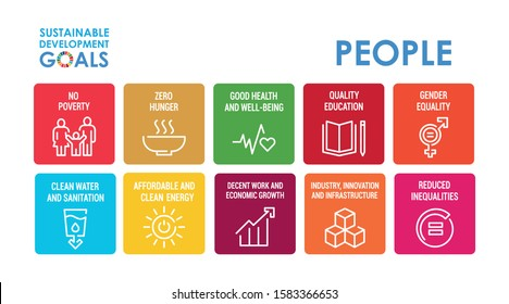 Corporate social responsibility color icon set. Sustainable Development Goals vector illustration. SDG signs. Pictograms for ad, web, mobile app, promo. UI UX design elements.