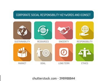 Corporate Social Responsibility Flat Icon Set