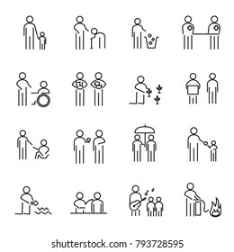 Corporate Social Responsibility people thin line icon set vector. CSR charity project for helping world an people concept. Sign and Symbol theme. White isolated background. Illustration vector.