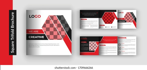 Corporate square trifold brochure template, Square business brochure template