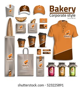 Corporate style bakery. Design kit packaging for bread, croissant. Vector illustration of orange