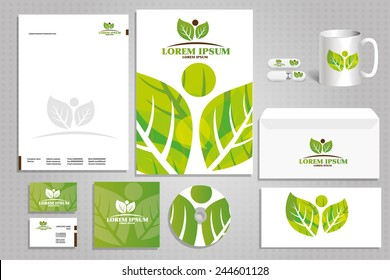 corporate style with eco-friendly logo for Nature Protection, the concept of the idea of the natural creative company