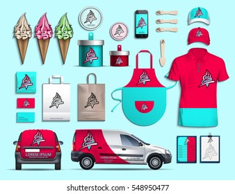Corporate style ice cream. Set for design, logo, red and turquoise. Vector illustration