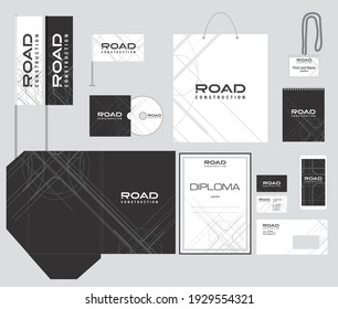 Corporate style, identity. Road construction. Industrial design