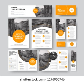 Corporate style with round and semicircular orange design elements and stroke, with a place for photos. Vector flyer templates, brochures, vouchers, cards and banners. Set