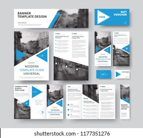corporate style set with triangular blue design elements, diagonals and a place for photos. Vector flyer templates, brochures, vouchers, cards and banners.