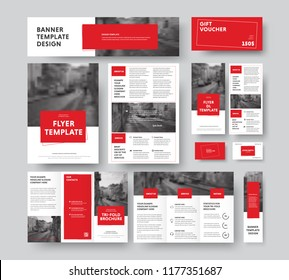Corporate style with square red design elements and stroke, with a place for a photo. Vector flyer templates, brochures, vouchers, cards and banners. Set