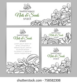 Corporate style template with hand drawn nuts and seeds. Cola nut, pumpkin seed, peanut and sunflower seeds. Pistachio, cashew, coconut, hazelnut and macadamia. Vector illustration.