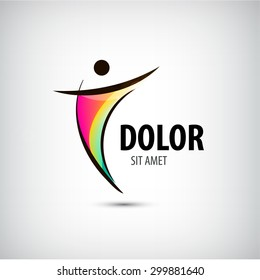 Corporate Success & Health & Winner logo template. Business concept. Human abstract. Vector line colorful icon.