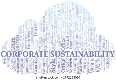 Corporate Sustainability vector word cloud, made with text only.