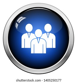 Corporate Team Icon. Glossy Button Design. Vector Illustration.