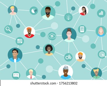 Corporate team working remotely online on project. Business web communication vector seamless pattern. Diverse employees work together, international network, virtual office, freelance project group.