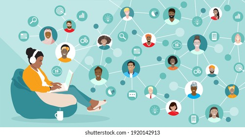 Corporate team working remotely online on project.  Young woman, diverse employees working together, international network, virtual office, freelancers group. Business web communication vector banner