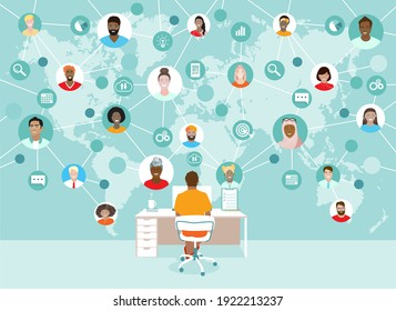 Corporate team working remotely online on project. Manager, diverse employees working together, international network, virtual office at map, freelancers group. Business communication vector banner