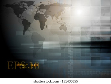 Corporate technology vector world map backdrop