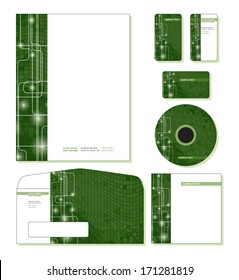 Corporate Template Vector - letterhead, business and gift cards, cd, cd cover, envelope.