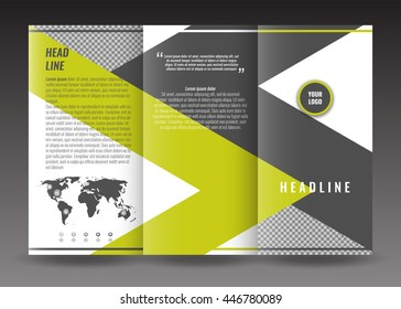 corporate trifold brochure template design with world map infographic element and place for photo