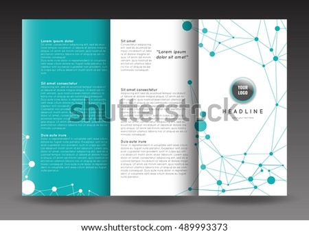 Corporate Trifold Brochure Template Design Connection Stock Vector