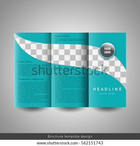 Corporate trifold business brochure template circle stock vector corporate tri fold business brochure template with circle company logo and place for photo wajeb Images