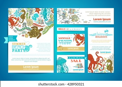 Corporate underwater sea life templates set. Vector cartoon design elements. A4 paper, business cards, banners. Octopus, turtle, fish, starfish, crab, shell, jellyfish, seahorse, seaweed.