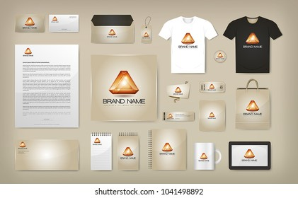Corporate Visual Identity Mock Up/ Illustration of a business corporate visual identity mock up, with logo, brand on multiple objects and merchandise