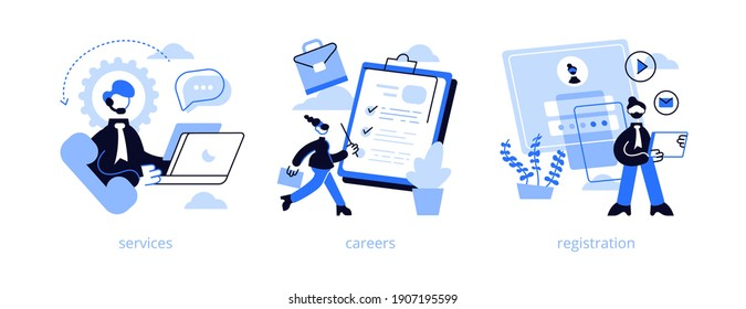 Corporate website abstract concept vector illustration set. Service