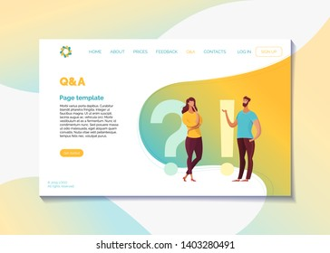 Corporate website Q&A page flat vector template. Question and answers webpage design layout with text space. Customer helpline, client support user interface. Cartoon male, female characters