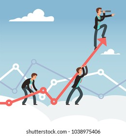 Corporate works and team effort for business growth vector concept. Effort business and achievement, ambition and growth illustration