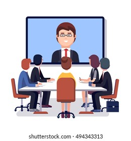 Corporation directors board at the conference call meeting with CEO at the video projection screen. Modern colorful flat style vector illustration isolated on white background.