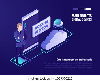 Corporation public data storaging, access for file who storage on remote cloud server concept, modern server room, smartphone, cloud icon, registration form isometric vector