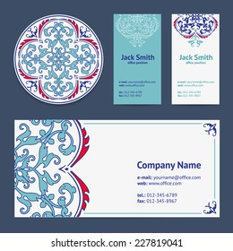Corporative Business Cards Design Set and Envelope with Beer Mat with Turkish Ornament and Damask Pattern Background