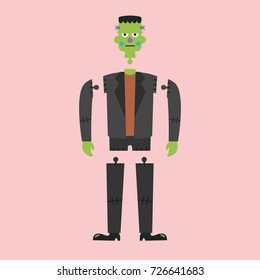Corpse of green zombie. Vector illustration