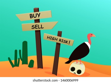 Corpse investor in desert with signpost, vulture and cactus, vector