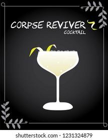 Corpse reviver cocktail illustration vector with lemon twist.