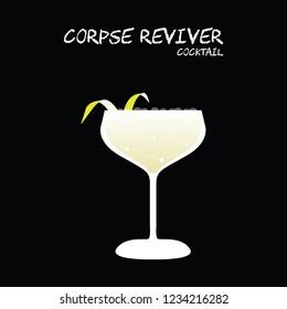 Corpse reviver cocktail illustration vector with lemon twist on square black background.