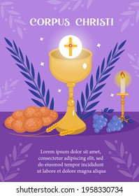 Corpus Christi Catholic religious holiday greeting card, template for your design. Feast Day, cross, bread, grapes. Vector illustration