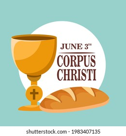 Corpus Christi Catholic religious holiday greeting card, vector illustration of template for your Corpus Christi design. Feast Day, cross, bread, grapes.