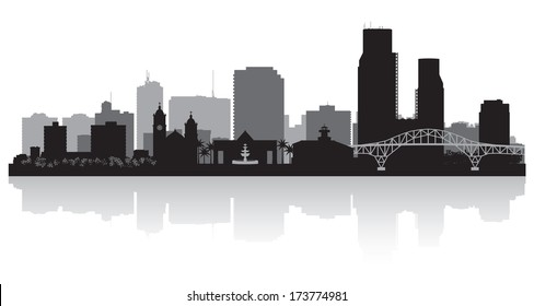 Corpus Christi Texas city skyline vector silhouette illustration